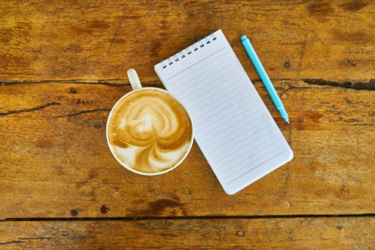coffee, note, notebook